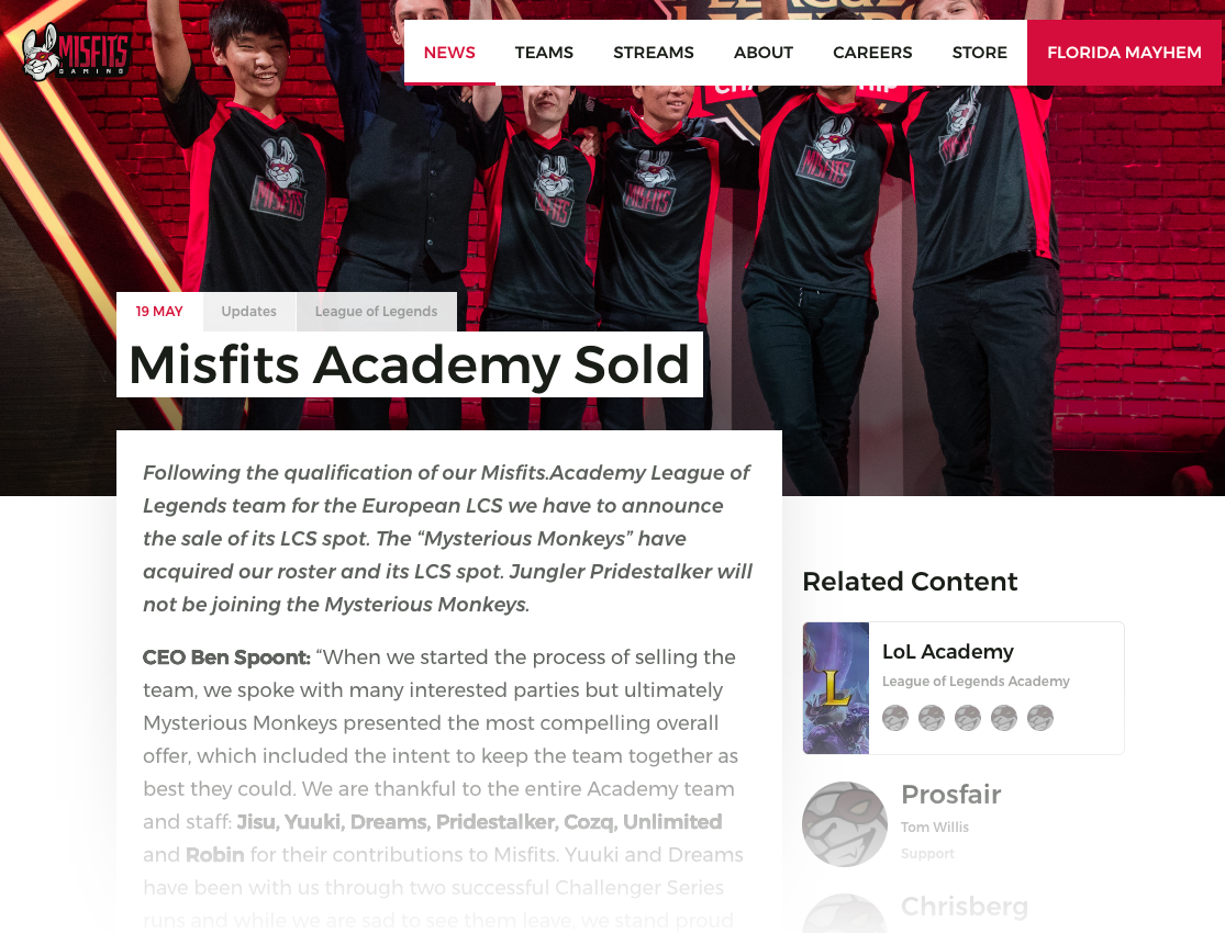 Misfits Article Page