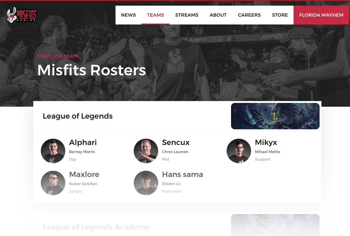 Misfits Team Roster Page